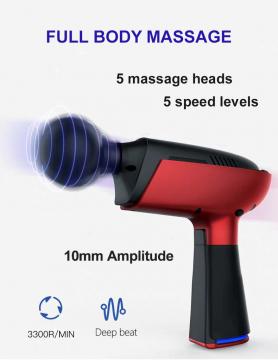 Pistola de vibración de masaje: 5 niveles de velocidad y 5 cabezales de masaje