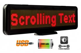 Promotional LED display with text scrolling 30 cm x 11 cm - red