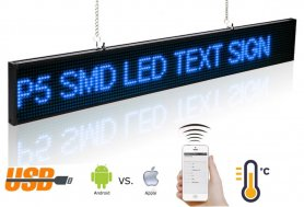Panneaux LED de texte programmables avec support WiFi - 82 cm x 9,6 cm bleu