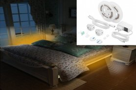 LED strips set under the bed + stairs 2x 1,5M strip with motion sensor + adjustable brightness - PACK
