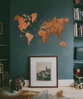 Pintura de parede do mapa do mundo - cor carvalho 200 cm x 120 cm