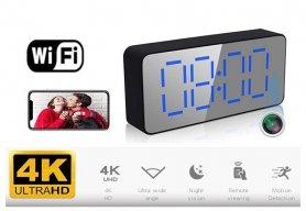 Cámara 4K WiFi P2P oculta en el despertador + detección de movimiento + visión nocturna + Ángulo de disparo hasta 140 °