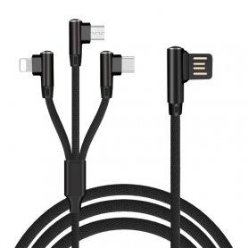 Трикотажний зарядний кабель 3В1 з 90 ° конструкцією роз'єму- Micro USB, Lightning, USB-C довжиною 1,5 м