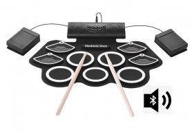 Electric drum kit on silicone pad with 9 drums + Bluetooth speaker