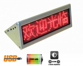 Double sided table LED display 22 cm x 7,6 cm - red