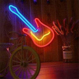 Svietiace neonové LED logo na stenu - GITARA