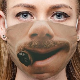 Funny face mask 3D design - OLD GENTLEMAN smile with cigar