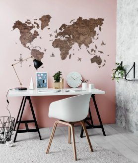 Fából készült világtérkép a falon - színű sötét dió 150 cm x 90 cm