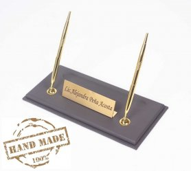 Leather pen stand for work desk + gold nameplate + 2 gold pens