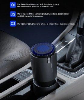 Ionizador de carro + purificador doméstico (limpador) + carregador USB