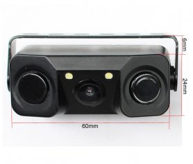 Parking camera 3v1 - Rear view camera with parking sensors and 2x LED
