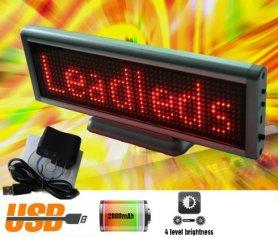 Afișaj LED interactiv cu culisare text 22x7,6 cm - roșu