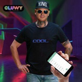 LED tshirt Gluwy with custom scrooling message via app (iOS/Android) - Blue LED
