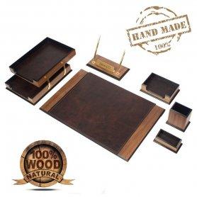 Namizna preproga Luxury Set 8 kosov za pisarniško mizo - (Oreh + rjavo usnje)