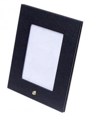 Rám na fotky (fotografie) - luxusný kožený čierny 21,5x17,5 cm