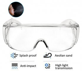 Transparent googles with side shields + anti-fogging