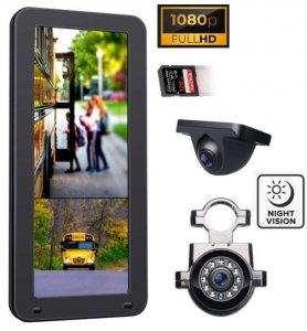 "​Truck camera rearview mirror set for buses - 12,3"" monitor + 2x FULL HD 1080P cameras"