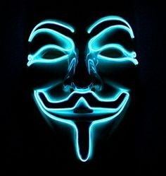 Neonové masky Anonymous - Modrá