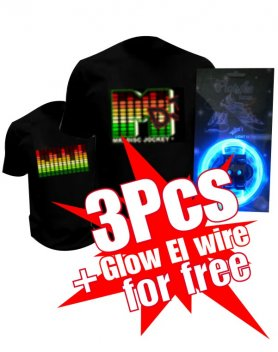 Buy 3 Led t-shirts and get 1 Glow El Wire for free
