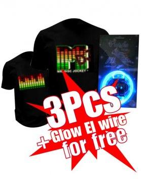 Cumpărați 3 tricouri Led și obțineți 1 Glow El Wire gratis