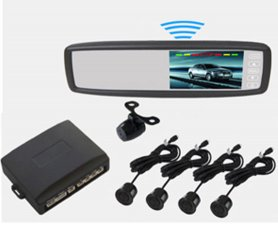 Parking system with LCD rearview mirror + 4 sensors