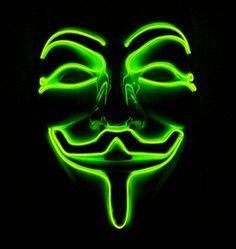 Неоновая маска Anonymous - зеленая