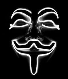 Неоновая маска Anonymous - белая