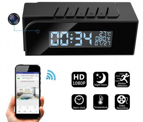 FULL HD ébresztőóra kamera + IR LED + WiFi és P2P + mozgásérzékelés + hőmérséklet