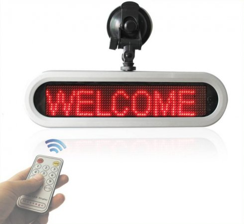 Wyświetlacz szyby samochodowej LED - czerwony - szerokość 28 cm, 12 V