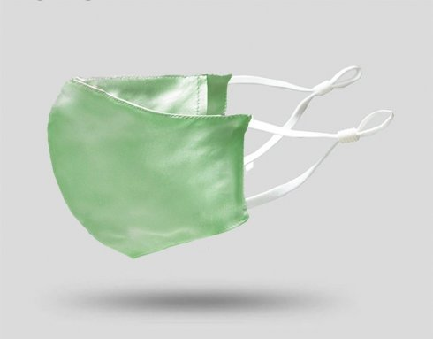シルクフェイスマスク100%オーガニックシルク-ライトグリーン