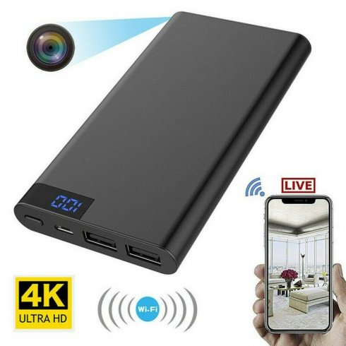 4K Wi-Fi-kamera skjult i strømbanken - 10000 mAh + nattesyn med 4x IR-LED