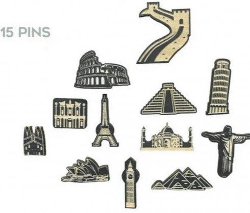 Svetovni spomeniki 15 kosov - potisnite zatiče na lesene zemljevide