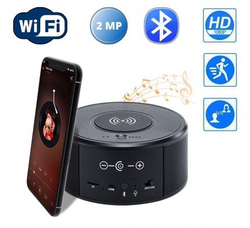 Versteckte Kamera mit Bluetooth-Lautsprecher und WiFi FULL HD + IR-Nachtsicht + kabelloses Ladegerät