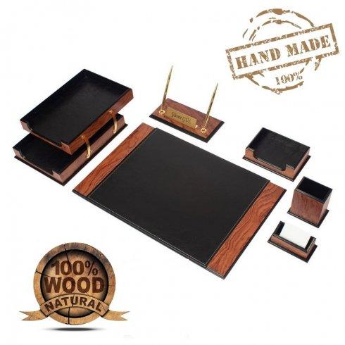 レザーデスクパッド-オフィス用高級セット8個-ウォールナット+ブラックレザー