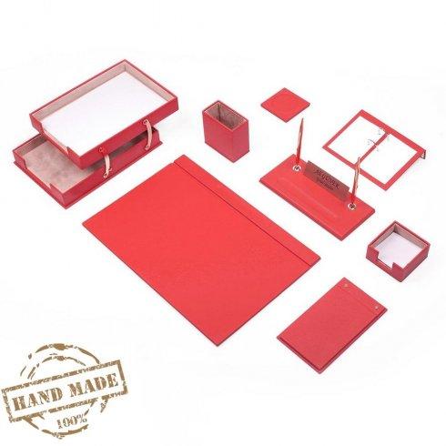 Komplet pisarniške pisalne mize 10 kosov za žensko delovno mizo (rdeče usnje) - ročno izdelan