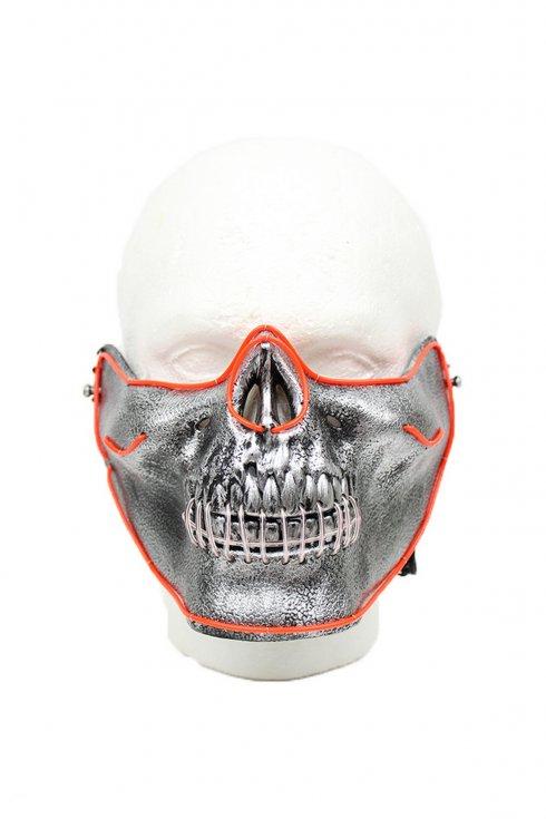 Gesichtsmaske leuchtet Schädel LED - rot