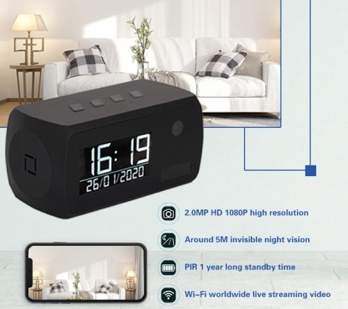 Clock camera in alarm with FULL HD + IR LED + WiFi + motion detection + 1 year battery life