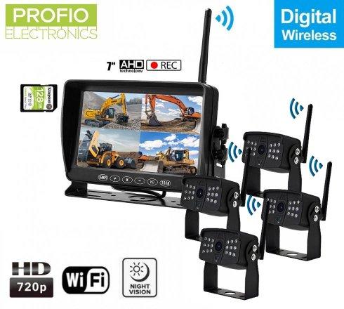 """Wifi parkovaciekamerys monitorom bezdrotove s nahravaním na SD - 4x AHD wifi kamera + 7"""" LCD DVR monitor"""