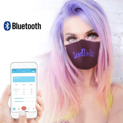 Smart face mask with LED display 150x33mm control via mobile Bluetooth (Android/iOS)