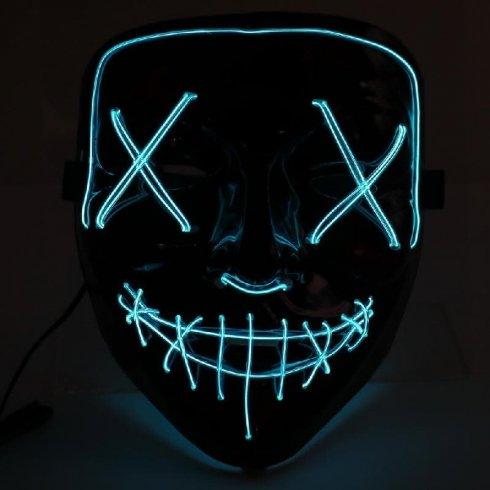 Rens Halloween-maske - LED lyseblå