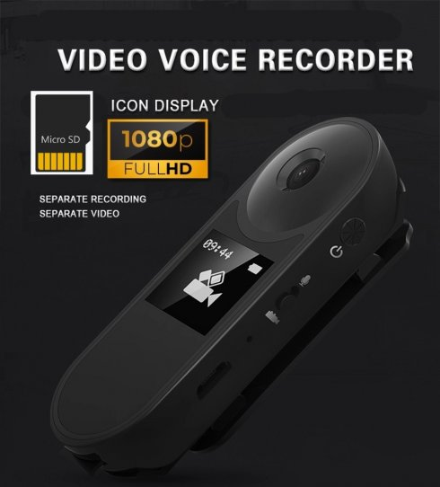 Mini camera with FULL HD + magnetic holder + dictaphone function