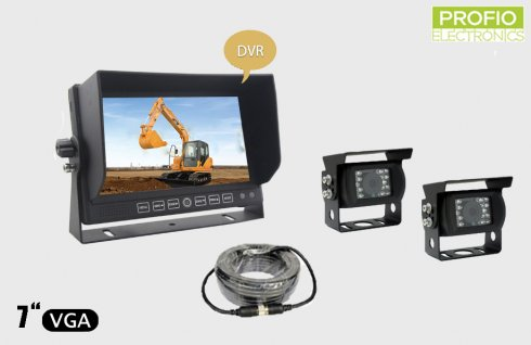 """Parking and reversing DVR set 7"""" LCD monitor with recording + 2x waterproof camera with 150° angle"""