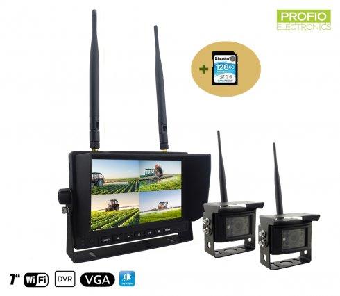 """Set telecamera di backup - 2x telecamera wifi + monitor TFT da 7 """"con registrazione DVR (Audio + Video) + Scheda SDXC da 128 GB"""