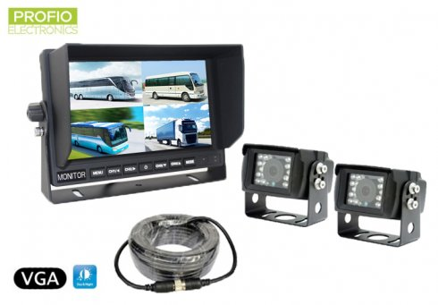 "VGA parking set 7"" LCD monitor + 2x 150° waterproof camera"