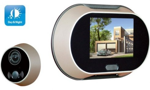 Digital door viewer with bell