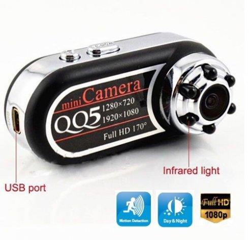 Mini cámara espía digital Full HD con 6 IR LED - grabación nocturna