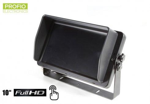 """10 """"palcový couvací HD monitor s dotykovou obrazovkou + 4 FULL HD vstupy"""