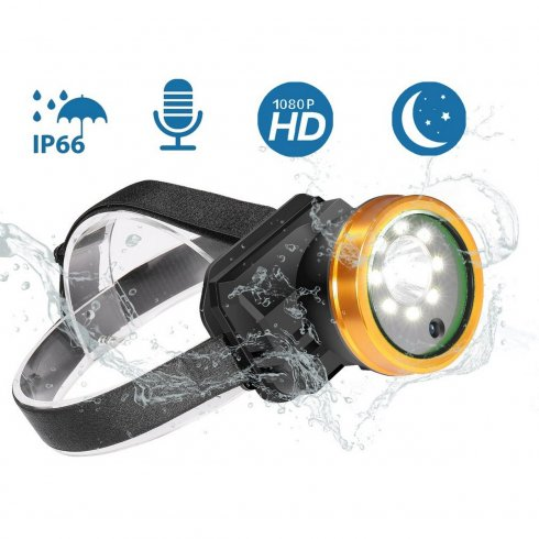 Linterna frontal impermeable con LED de alta luminosidad + cámara Full HD