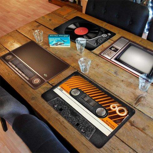 Esteras de mesa debajo del plato - juego de 4 piezas Juego de cubiertos Vintage