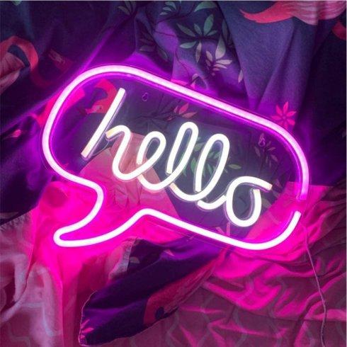 LED reklamné neónové logo svietiace- HELLO